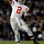 In this Saturday, Nov. 7, 2009 photo, Ohio State quarterback Terrelle Pryor passes the ball during the second half of an NCAA college football game against Penn State in State College, Pa. O …