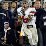 Ohio State wide receiver DeVier Posey (8) catches a pass for a touchdown against Penn State during the second half of an NCAA college football game in State College, Pa., Saturday, Nov. 7, 2 …