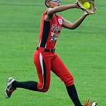 Elyria's centerfielder Kaeli Evans catches a ball hit by Indiana for an out.  KRISTIN BAUER | CHRONICLE