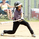 Vermilion Impact's Konner Clark hits a ground ball single in the final inning against the Stow Beef O'Brady Cubs yesterday in the Class H Hot Stove District championship game. (CT photo by A …