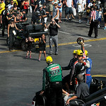 Antron Brown, top fuel dragster winner; John Force, funny car winner; Erica Enders-Stevens, Pro Stock winner;  and Andrew Hines, Pro Stock Motorcycle winner; ride into the winners circle tog …