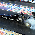 Cory McClenathan in top fuel qualifying at Norwalk on July 4. STEVE MANHEIM/CHRONICLE