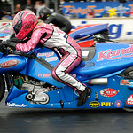 Angie Smith rides in the motorcycle heat at the Summit NHRA Racing Equipment Nationals on July 5.  KRISTIN BAUER | CHRONICLE