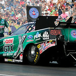 John Force races in the Funny Car finals heat on July 6.   KRISTIN BAUER | CHRONICLE