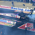 Antron Brown, sponsored by Matco Tools, finishes first in the Top Fuel dragster finals on July 6.   KRISTIN BAUER | CHRONICLE