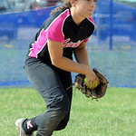 Maddie Johnson of Explosive Fast Pitch makes an infield cateh in finals June 30.   Steve Manheim