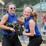 Marella McMahon, left, and Meghan Newton celebrate Grafton Nancy's Main Street Diner's victory over the Bristol Panthers during a state semifinal game Sunday at Wellington Community Park …