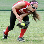 Firelands' centerfielder Emily Stewart fields a ground ball during a game against Grafton.  KRISTIN BAUER | CHRONICLE