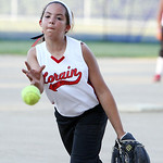 Lorain Dirt Devils' Ariana Marano pitches against Firelands in the bottom of the fourth inning yesterday at Palmer Field in North Ridgeville. (CT photo by Anna Norris.)