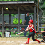 Emily Matakovich hit a fly ball in the Amherst Avengers' match against Edinburg. The Avengers fought their way to a 13-2 win to move on to the next round.