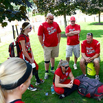 Elyria players and coaches talk after the team's first tournament loss. KRISTIN BAUER | CHRONICLE