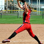 Elyria's closing pitcher April Howser delivers against Illinois. KRISTIN BAUER | CHRONICLE