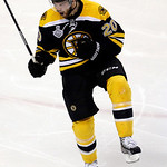 Boston Bruins left wing Daniel Paille celebrates his goal against the Chicago Blackhawks during the second period in Game 3 of the NHL hockey Stanley Cup Finals in Boston, Monday, June 17, 2 …