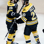 Boston Bruins left wing Daniel Paille (20) celebrates his goal against the Chicago Blackhawks with center Tyler Seguin (19) during the second period in Game 3 of the NHL hockey Stanley Cup F …