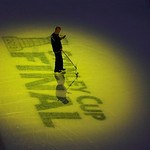 A rink worker readies the ice before Game 3 of the NHL hockey Stanley Cup Finals between the Boston Bruins and the Chicago Blackhawks in Boston, Monday, June 17, 2013. (AP Photo/Charles Krup …
