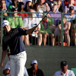 Justin Rose, of England, reacts after a putt on the 18th hole during the fourth round of the U.S. Open golf tournament at Merion Golf Club, Sunday, June 16, 2013, in Ardmore, Pa. (AP Photo/D …