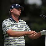 Steve Stricker reacts after hitting a ball out of bounds from the second hole tee during the final day of the U.S. Open golf tournament on Sunday, June 16, 2013, at Merion Golf Club in Ardmo …