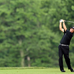 Phil Mickelson tees off on the 15th hole during the fourth round of the U.S. Open golf tournament at Merion Golf Club, Sunday, June 16, 2013, in Ardmore, Pa. (AP Photo/Julio Cortez)