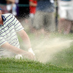 Steve Stricker hits out of a bunker on the fourth hole during the fourth round of the U.S. Open golf tournament at Merion Golf Club, Sunday, June 16, 2013, in Ardmore, Pa. (AP Photo/Morry Ga …
