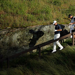 Justin Rose, of England, walks down the 17th hole during the fourth round of the U.S. Open golf tournament at Merion Golf Club, Sunday, June 16, 2013, in Ardmore, Pa. (AP Photo/Charlie Riede …