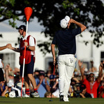 Justin Rose, of England, reacts after a putt on the 18th hole during the fourth round of the U.S. Open golf tournament at Merion Golf Club, Sunday, June 16, 2013, in Ardmore, Pa. (AP Photo/J …