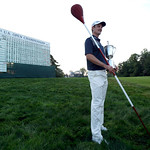 Justin Rose, of England, poses with the trophy after winning the U.S. Open golf tournament at Merion Golf Club, Sunday, June 16, 2013, in Ardmore, Pa. (AP Photo/Julio Cortez)