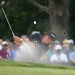 Phil Mickelson hits a ball from the bunker on the second hole during the final day of the U.S. Open golf tournament on Sunday, June 16, 2013, at Merion Golf Club in Ardmore, Pa. (AP Photo/Th …