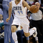 Charlotte Bobcats' Jeffery Taylor (44) brings the ball up the court against the Cleveland Cavaliers during the first half of an NBA basketball game in Charlotte, N.C., Wednesday, April 17, 2 …