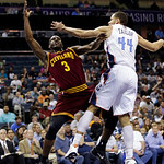 Cleveland Cavaliers' Dion Waiters (3) shoots over Charlotte Bobcats' Jeffery Taylor (44) during the second half of an NBA basketball game in Charlotte, N.C., Wednesday, April 17, 2013. The B …