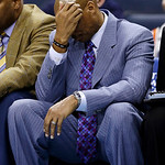 Cleveland Cavaliers head coach Byron Scott reacts after a turnover during the second half of an NBA basketball game against the Charlotte Bobcats in Charlotte, N.C., Wednesday, April 17, 201 …