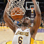 Los Angeles Lakers forward Earl Clark dunks during the second half of their NBA basketball game against the Cleveland Cavaliers, Sunday, Jan. 13, 2013, in Los Angeles. The Lakers won 113-93. …