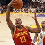Cleveland Cavaliers forward Tristan Thompson grabs a rebound during the first half of their NBA basketball game against the Los Angeles Lakers, Sunday, Jan. 13, 2013, in Los Angeles. (AP Pho …