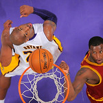 Cleveland Cavaliers guard Dion Waiters, right, puts up a shot as Los Angeles Lakers guard Kobe Bryant looks on during the second half of their NBA basketball game, Sunday, Jan. 13, 2013, in  …