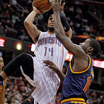 Charlotte Bobcats' D.J. Augustin (14) puts up a shot against Cleveland Cavaliers' Donald Sloan in the first quarter of an NBA basketball game Tuesday, April 10, 2012, in Cleveland. (AP Photo …