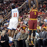 Cleveland Cavaliers' Dion Waiters (3) shoots over Philadelphia 76ers' Jrue Holiday (11) during an NBA basketball game, Sunday, April 14, 2013, in Philadelphia. The 76ers won 91-77. (AP Photo …