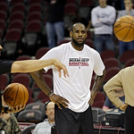 Miami Heat's LeBron James during warmups before an NBA basketball game against the Cleveland Cavaliers Monday, April 15, 2013, in Cleveland. (AP Photo/Mark Duncan)