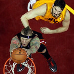 Miami Heat's Chris Andersen, bottom, dunks against Cleveland Cavaliers' Omri Casspi, from Israel, in the second half of an NBA basketball game Monday, April 15, 2013, in Cleveland. The Heat  …