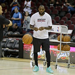 Miami Heat's LeBron James warms up before an NBA basketball game against the Cleveland Cavaliers Monday, April 15, 2013, in Cleveland. (AP Photo/Mark Duncan)
