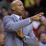Cleveland Cavaliers head coach Byron Scott reacts in the second quarter in an NBA basketball game against the Washington Wizards, Wednesday, April 25, 2012, in Cleveland. Washington won 96-8 …