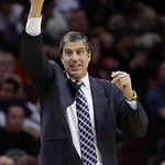 Washington Wizards head coach Randy Wittman reacts in the fourth quarter in an NBA basketball game against the Cleveland Cavaliers, Wednesday, April 25, 2012, in Cleveland. Washington won 96 …