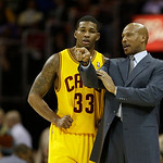 Cleveland Cavaliers head coach Byron Scott instructs Alonzo Gee (33) during an NBA basketball game against the Los Angeles Lakers Tuesday, Dec. 11, 2012, in Cleveland. (AP Photo/Mark Duncan)