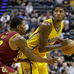 Indiana Pacers' Paul George, right, is defended by Cleveland Cavaliers' Alonzo Gee during the second half of an NBA basketball game onWednesday, Dec. 12, 2012, in Indianapolis. The Pacers de …