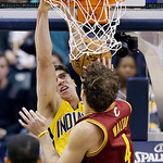 Indiana Pacers' Tyler Hansbrough dunks against Cleveland Cavaliers' Luke Walton during the first half of an NBA basketball game on Wednesday, Dec. 12, 2012, in Indianapolis. (AP Photo/Darron …