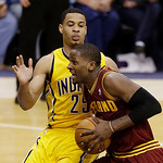 Cleveland Cavaliers' C.J. Miles drives to the basket against Indiana Pacers' Gerald Green during the first half of an NBA basketball game on Wednesday, Dec. 12, 2012, in Indianapolis. (AP Ph …