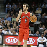 Toronto Raptors' Jose Calderon, from Spain, calls a play in an NBA basketball game against the Cleveland Cavaliers Tuesday, Dec. 18, 2012, in Cleveland. (AP Photo/Mark Duncan)