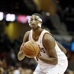 Cleveland Cavaliers' Tristan Thompson shoots a free throw against the Toronto Raptors in an NBA basketball game Tuesday, Dec. 18, 2012, in Cleveland. (AP Photo/Mark Duncan)
