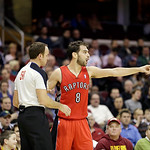 Toronto Raptors' Jose Calderon (8), from Spain, complains to referee Josh Tiven during an (58) NBA basketball game against the Cleveland Cavaliers Tuesday, Dec. 18, 2012, in Cleveland. (AP P …