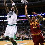 Boston Celtics forward Kevin Garnett (5) shoots against Cleveland Cavaliers forward Alonzo Gee (33) during the second quarter of an NBA basketball game in Boston, Wednesday, Dec. 19, 2012. ( …