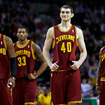 Cleveland Cavaliers guard Kyrie Irving (2), forward Alonzo Gee (33), center Tyler Zeller (40) and shooting guard Dion Waiters (3) react as forward Tristan Thompson, not shown, misses two fre …
