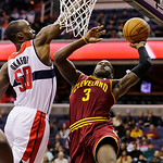 Cleveland Cavaliers guard Dion Waiters (3) shoots over Washington Wizards center Emeka Okafor (50) in the first half of an NBA basketball game, Wednesday, Dec. 26, 2012, in Washington. (AP P …
